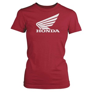 Honda Women's Big Wing Red/Pink Short-sleeve T-shirt, S, Red