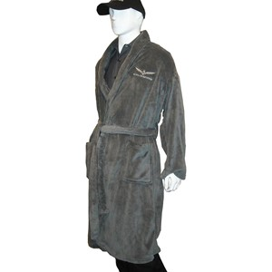 Gold Wing Fleece Robe - Charcoal