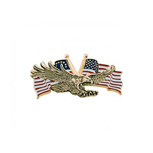 "Gold Flying Eagle w/USA Flag 4 1/2""x2 3/4"""
