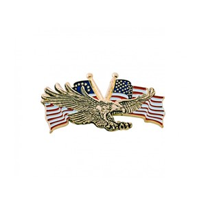 "Gold Flying Eagle w/USA Flag 3""x1 3/4"""